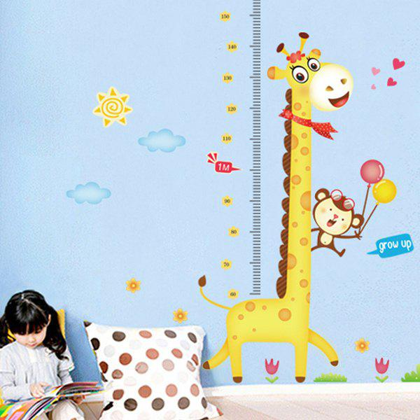 Stylish Giraffe Height Measurement Pattern Removeable Wall Stickers For Children - COLORMIX