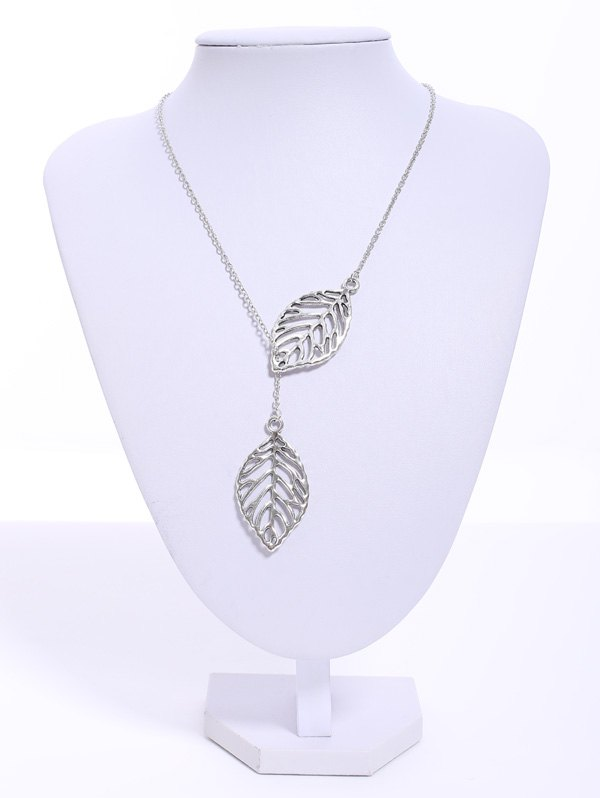 Stylish Women's Openwork Leaf Pendant Necklace - COLOR ASSORTED