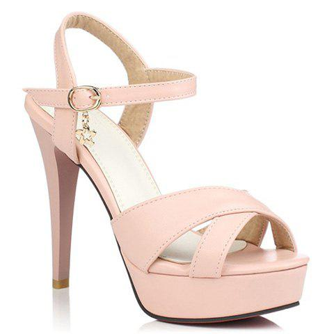 Fashionable Metallic and Cross Straps Design Women's Sandals - PINK 36