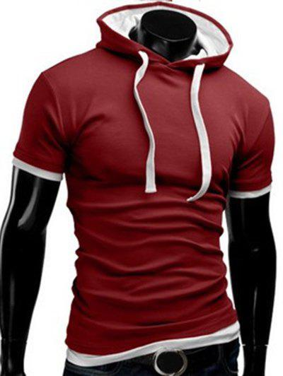 Solid Color Hooded Short Sleeve Men's T-Shirt - RED M