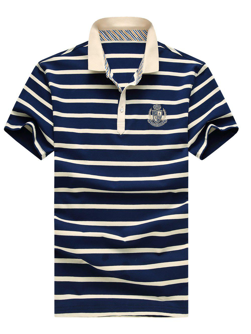 At modern dresslily - Men S Modern Stripes Turn Down Collar Embroidery Short Sleeves Polo T