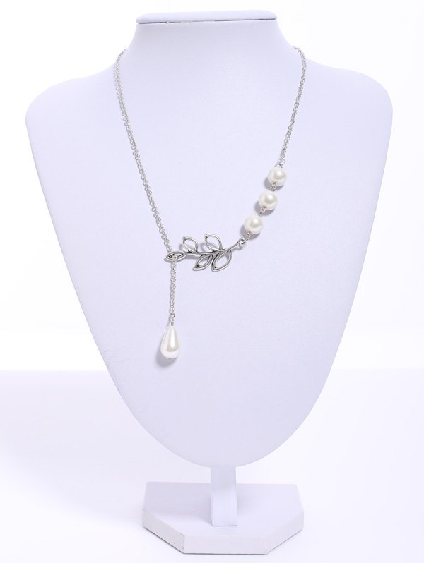 Faux Pearl Leaf Pendant Necklace - AS THE PICTURE