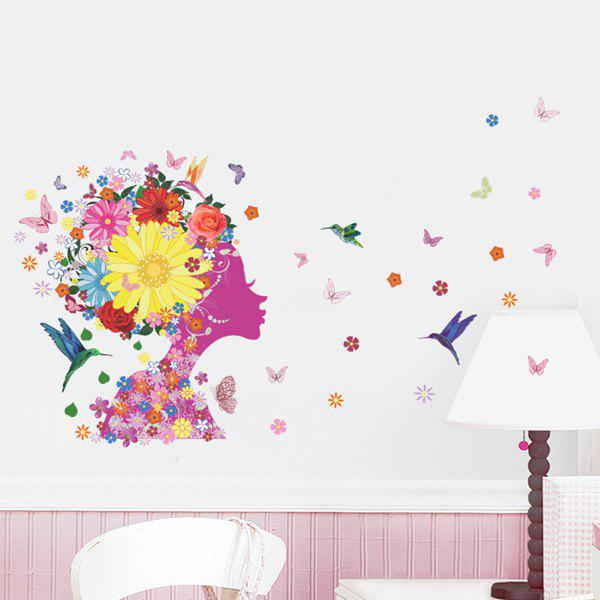 Chic Quality Colorful Flowers and Girl Pattern Removeable Wall Stickers chic quality art style bookshelf and photo wall pattern removeable wall stickers