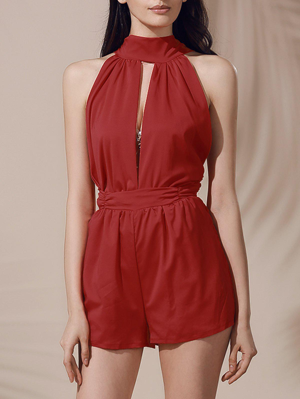 Fashionable Sleeveless Backless Pure Color Cut Out Women's Romper - DEEP RED M