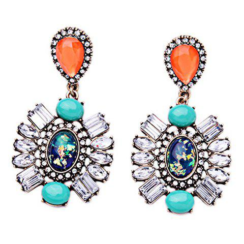 Pair of Faux Crystal Oval Floral Earrings - BLUE