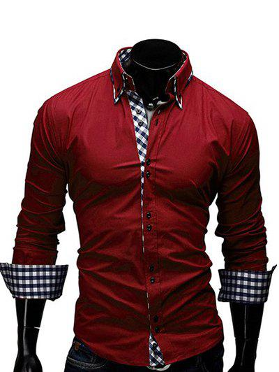 Turn-Down Collar Checked Splicing Design Long Sleeve Men's Shirt - RED M