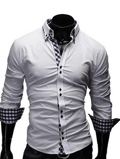 Turn-Down Collar Checked Splicing Design Long Sleeve Men's Shirt - WHITE L