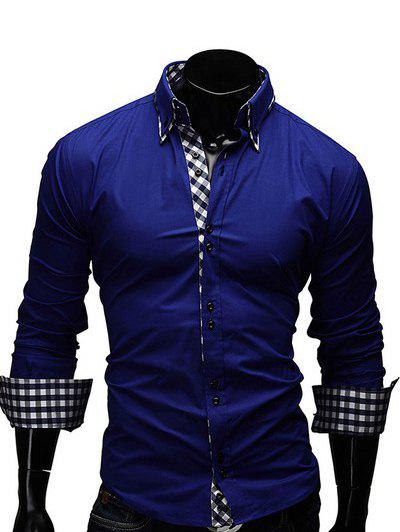 Turn-Down Collar Checked Splicing Design Long Sleeve Men's Shirt - SAPPHIRE BLUE M