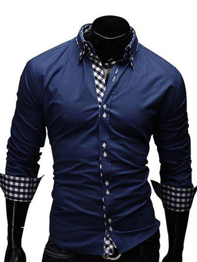 Turn-Down Collar Checked Splicing Design Long Sleeve Men's Shirt - CADETBLUE M