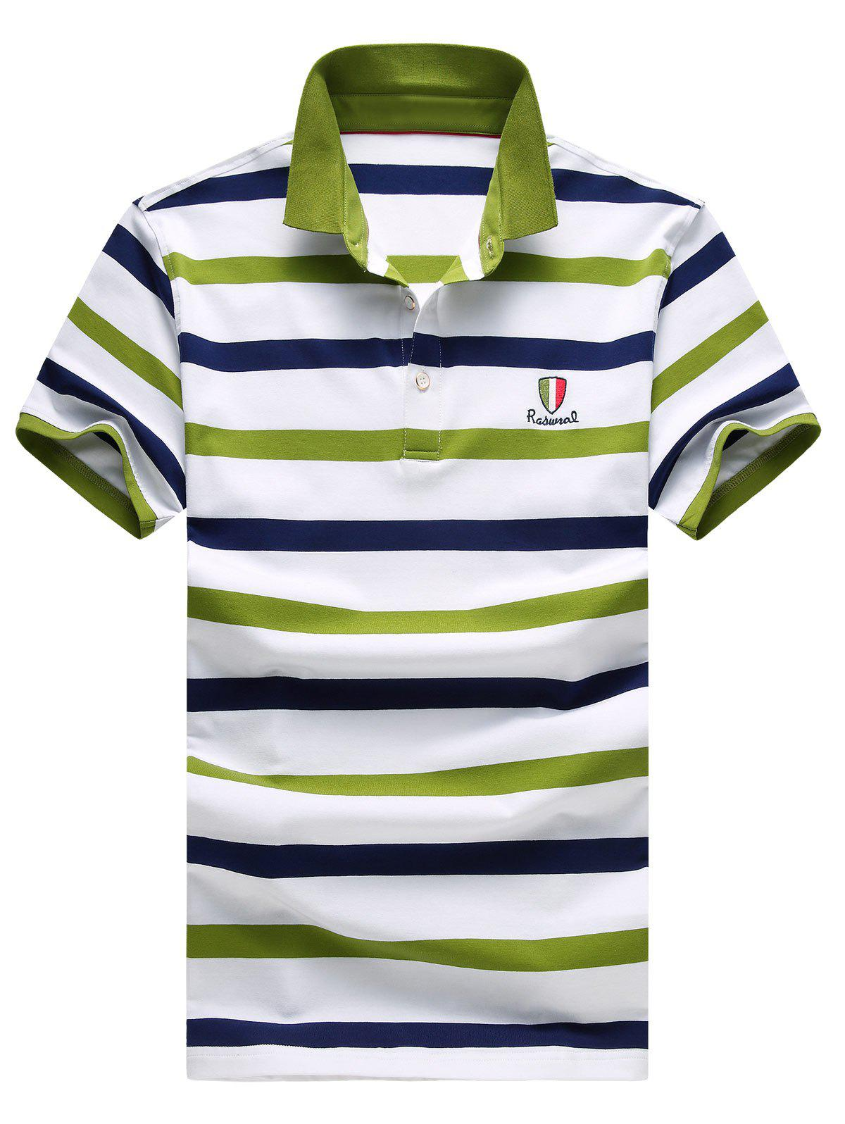 Buy Men's Stripes Turn-down Collar Embroidery Short Sleeves Polo T-Shirt GREEN