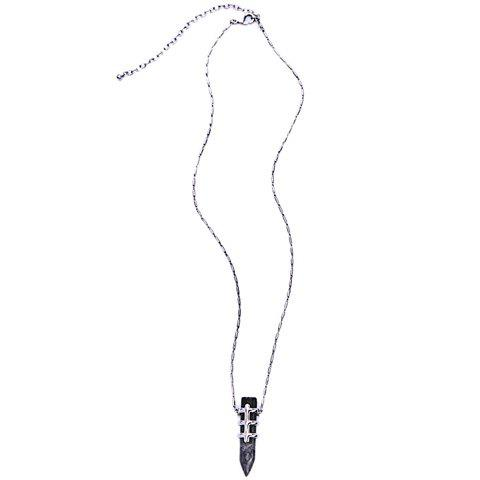 Faux Gem Bullet Necklace - BLACK