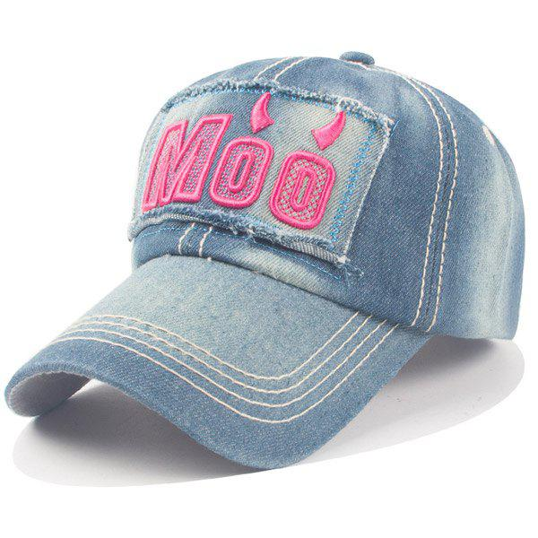 Stylish Letter and Ox Horn Embroidery Denim Fabric Women's Baseball Cap - ROSE
