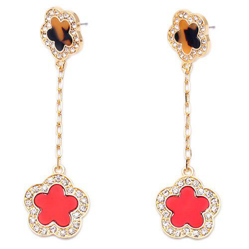 Pair of Sweet Faux Crystal Flower Drop Earrings For Women - GOLDEN
