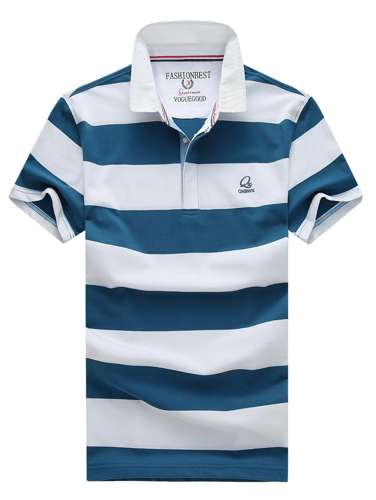 Men's Stylish Stripes Turn-down Collar Embroidery Short Sleeves Polo T-Shirt - DENIM BLUE XL