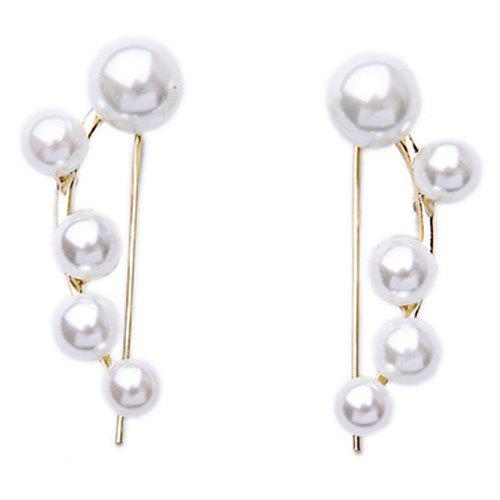 Pair of Graceful Artificial Pearl Earrings For Women - WHITE