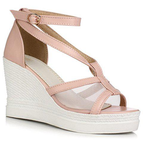 Fashionable Gauze and Solid Color Design Women's Sandals - PINK 38