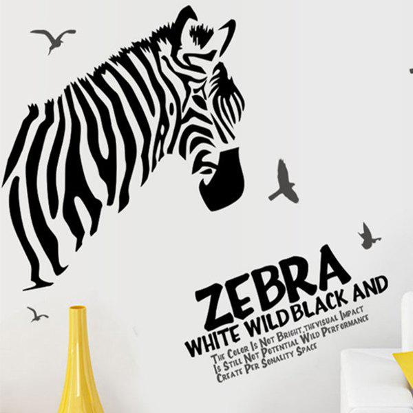 Stylish Zebra and Sea Mew Pattern Removeable Wall Stickers - WHITE/BLACK