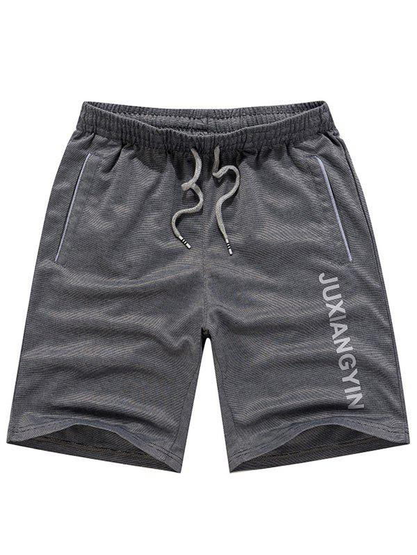 Men's Casual Letter Printed Lace Up Plus Size Sports Shorts - GRAY 2XL