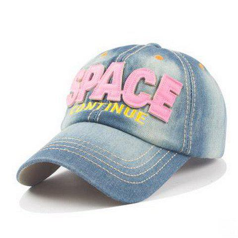 Stylish Letter Shape and Embroidery Embellished Denim Fabric Women's Baseball Cap