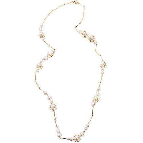 Gorgeous Artificial Pearl Sweater Chain For Women - WHITE