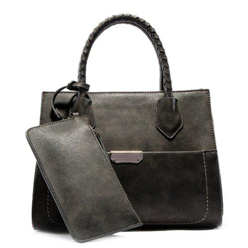 Laconic Solid Colour and PU Leather Design Women's Tote Bag -  GRAY