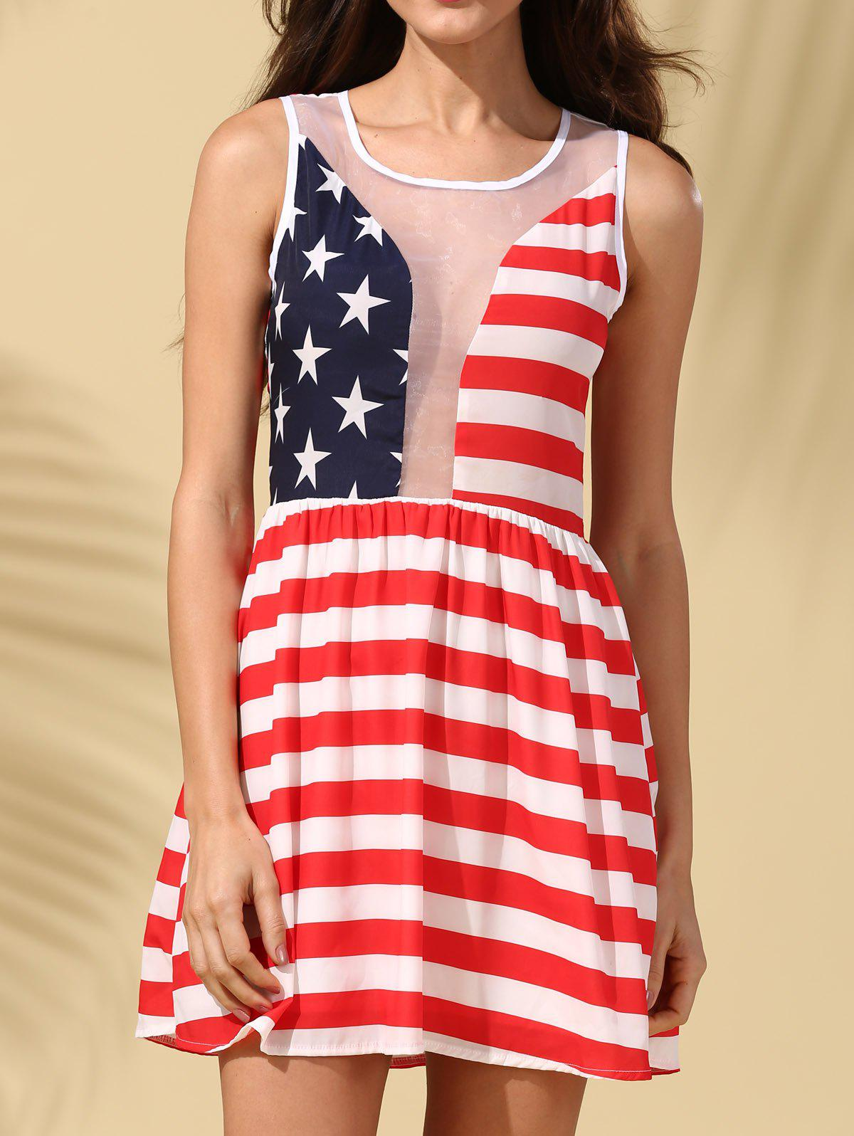 Stylish Women's Scoop Neck Sleeveless American Flag See-Through Dress - RED S