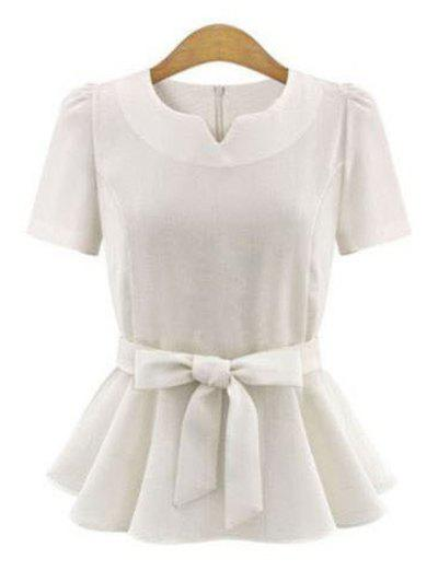 Elegant Short Sleeve Pure Color Bowtie Ruffled Design Women's Blouse - WHITE XL