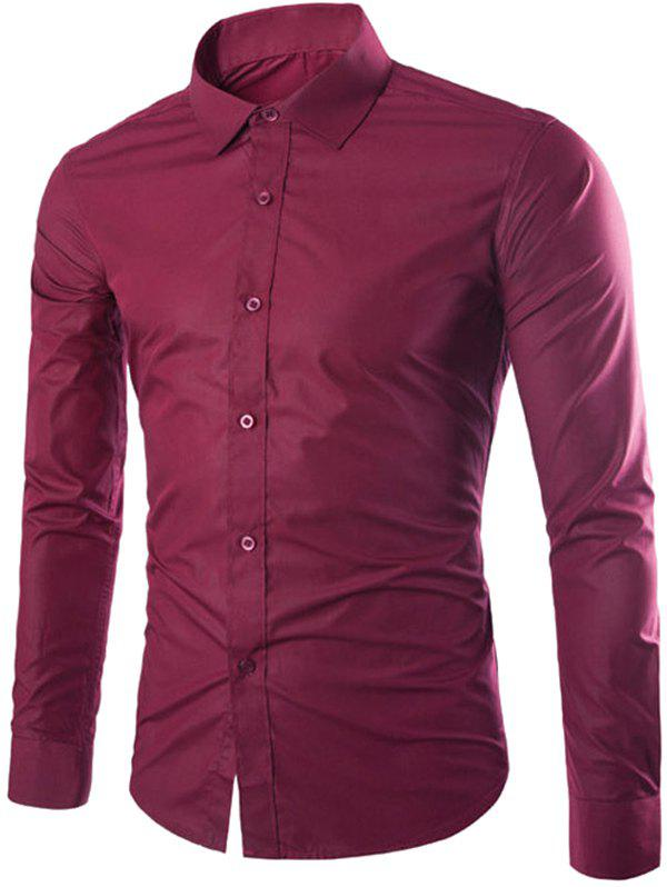 Turn down collar solid color slimming long sleeve men 39 s for Wine colored mens dress shirts