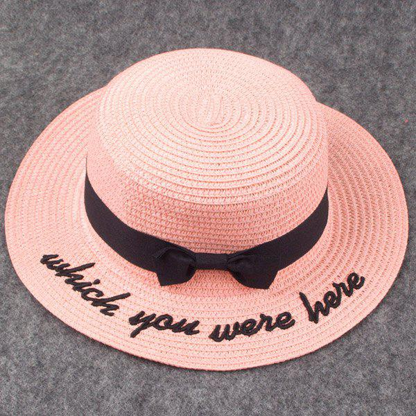 Stylish Black Bow and Letter Embroidery Embellished Women's Hipsters Straw Hat - PINK