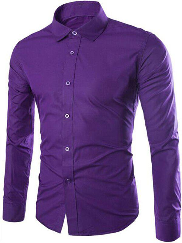 Turn-Down Collar Solid Color Slimming Long Sleeve Men's Shirt - PURPLE XL