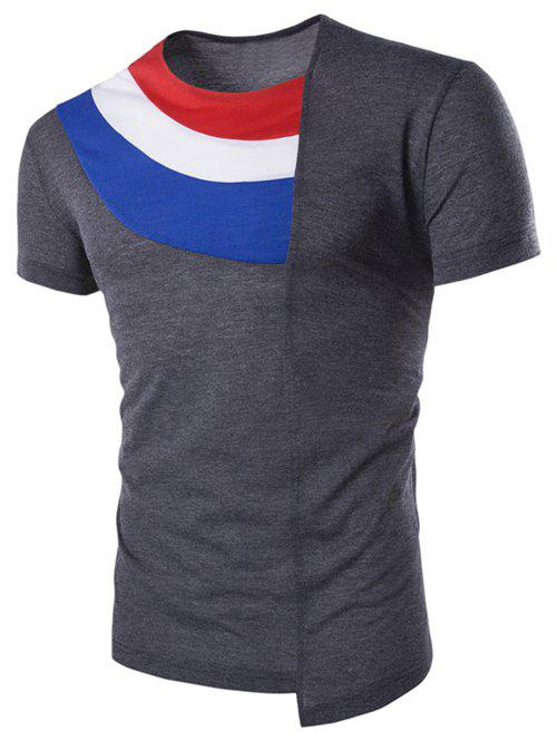 Asymmetric Hem Color Spliced Inclined V-Neck Short Sleeves Men's T-Shirt - 2XL DEEP GRAY