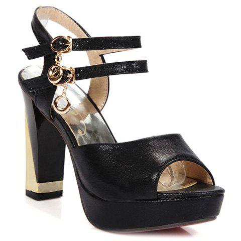 Stylish Solid Color and Double Buckle Design Women's Sandals - BLACK 38