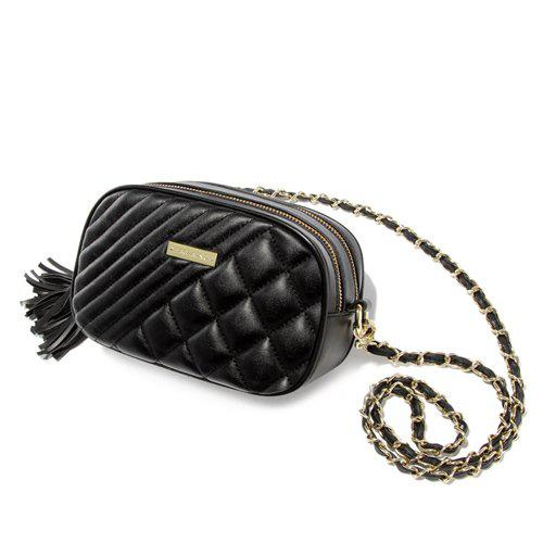 Trendy Checked and Double Tassels Design Women's Crossbody Bag - BLACK