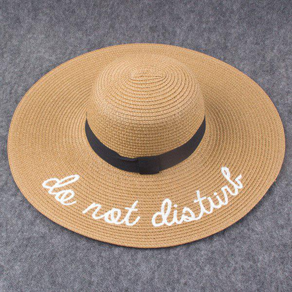 Stylish Letter Embroidery Wide Brim Women's Hipsters Straw Hat - KHAKI
