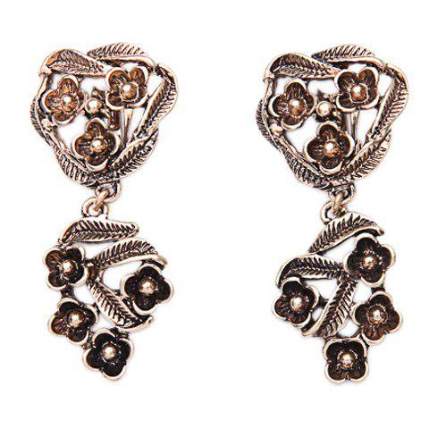 Pair of Vintage Leaf Hollow Out Ear Cuffs For Women