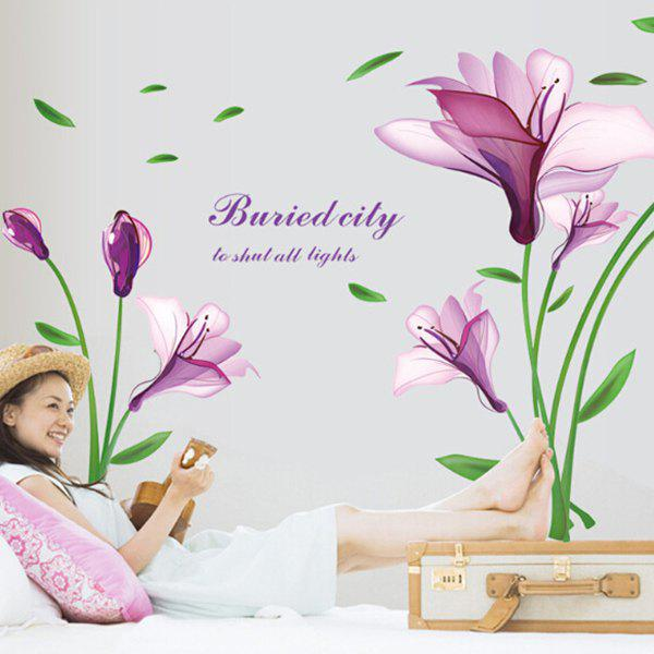 Fashion DIY Purple Mangnolia and Letters Pattern Wall Stickers For Home Decor - PURPLE