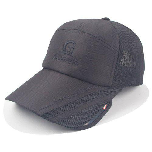 Stylish Letters Embroidery Wide Brim Cool Summer Men's Baseball Cap - BLACK