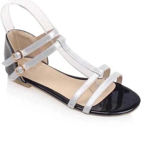 Sweet T-Strap and Color Block Design Women's Sandals - SILVER 36