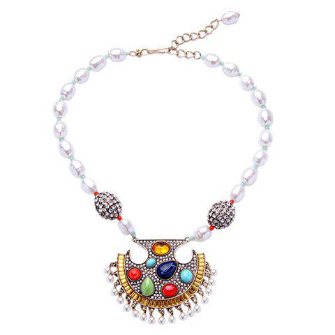 Faux Gem Artificial Pearl Water Drop Necklace - WHITE