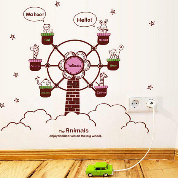 Chic Quality DIY Cartoon Animal and Ferris Wheel Pattern Wall Stickers For Children's bedroom