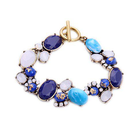 Oval Artificial Gem Bracelet - GOLDEN