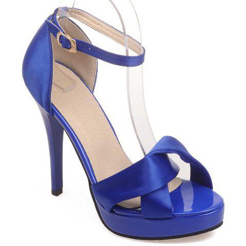 Trendy Ankle Strap and Satin Design Women's Sandals - BLUE 38