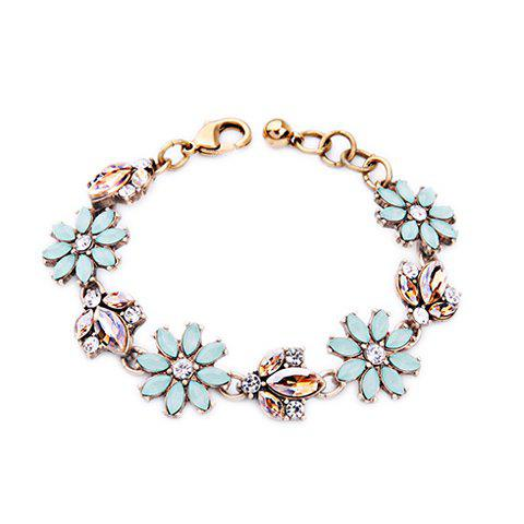 Artificial Crystal Floral Bracelet - GOLDEN