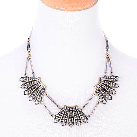Fan Shaped Rhinestone Necklace - SILVER