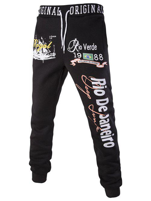 Sports Beam Feet Letters Number Pattern Rib Spliced Men's Lace-Up Sweatpants