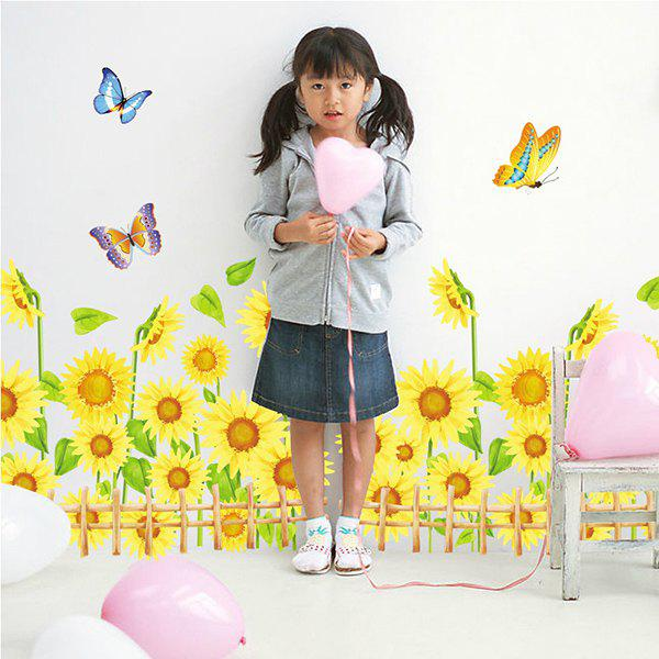 Fashionable Sunflower Pattern Removeable Wall Stickers For Home Decor