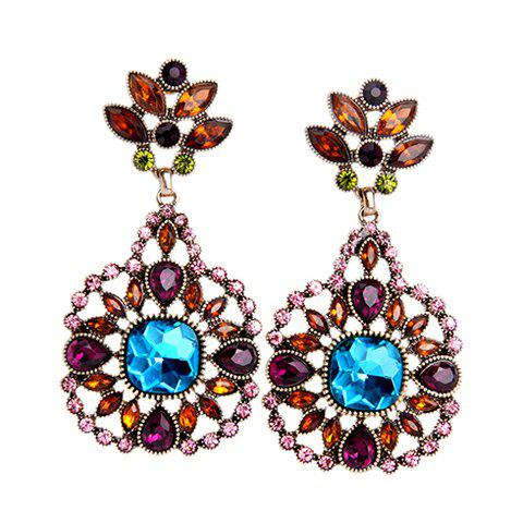 Pair of Chic Artificial Crystal Flower Earrings For Women