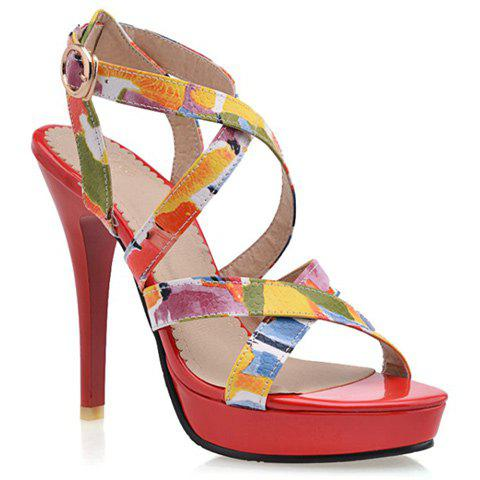 Fashionable Cross Straps and Multicolor Design Women's Sandals - RED 35