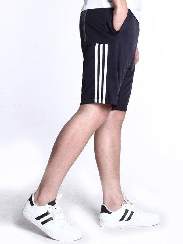 Men's Casual Lace Up Stripe Sports Shorts - GRAY M