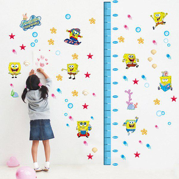 Fashion DIY Spongebob Pattern and Height Measurement Wall Stickers For Children